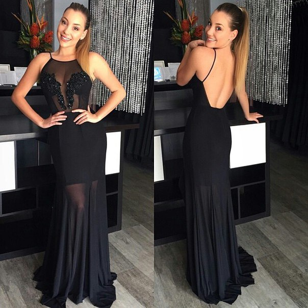 New Arrival Black Lace Long Evening Dress Sheath Chiffon Backless Sequined Special Occassion Dresses