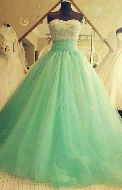 Sweetheart Tulle  Ball Gown Crystal Green Sexy Quinceanera Dresses