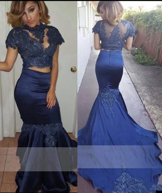 Dark Navy Mermaid Two Pieces Prom Dresses  Short Sleeves High Neck Evening Dresses SK0106