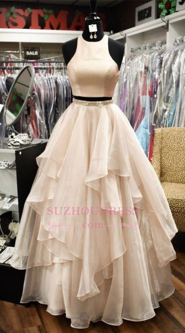 Chic Baby Pink Two Pieces Evening Dresses | Jewel A-Line Sleeveless Tiered Prom Dresses