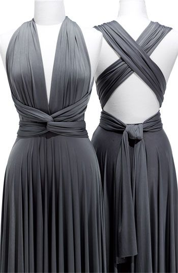 Deep V-Neck Gray Sexy Party Dress Crossed Back Satin  Long Evening Dresses with Sash