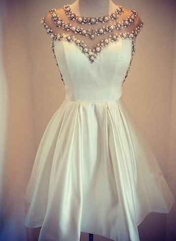 Beaded Sheer Top  Homecoming Dress White Miniskirt Pearls Cocktail Dress