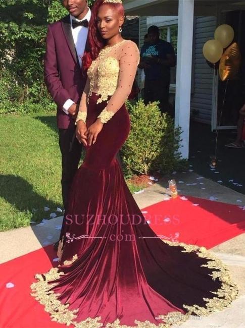 Gorgeous Appliques Burgundy Evening Dresses  Long Sleeve Velvet Prom Dress