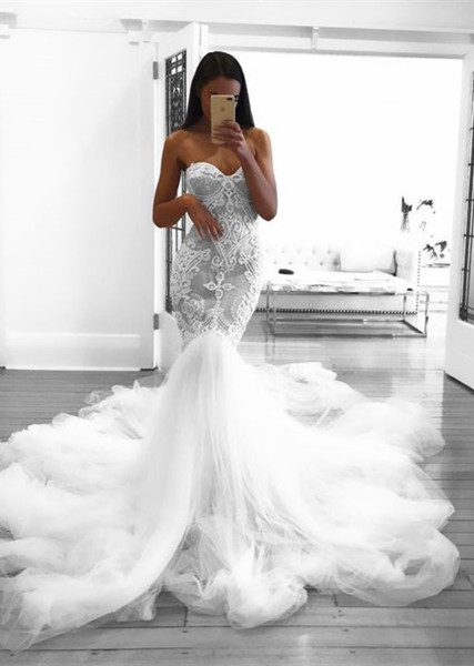 Glamorous Mermaid Wedding Dresses Sweetheart Lace White Bridal Gowns Online