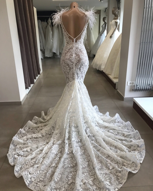 Tempting Open Back Wedding Dresses with Feather Fit and Flare Lace Crystals Necklace Bridal Gowns Online