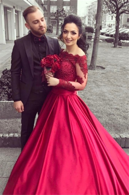 Red Long Sleeves Off Shoulder Evening Dresses |  Elegant Appliques Ball Formal Dress