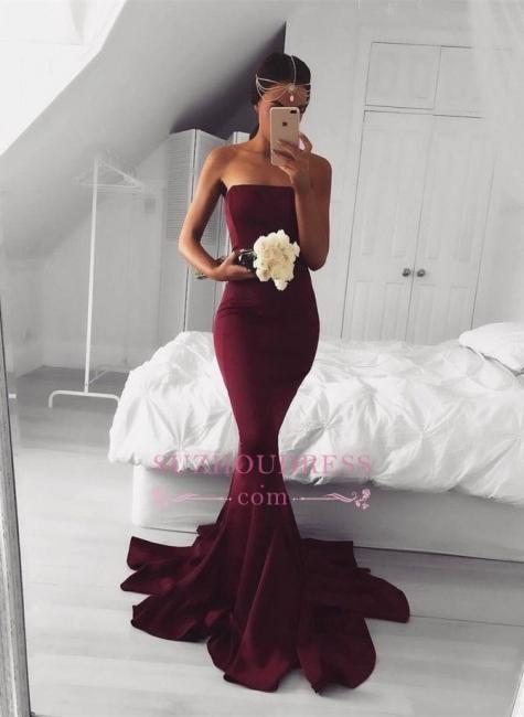 Modern Sweep-Train  Burgundy Strapless Mermaid Sleeveless Prom Dress BA5124