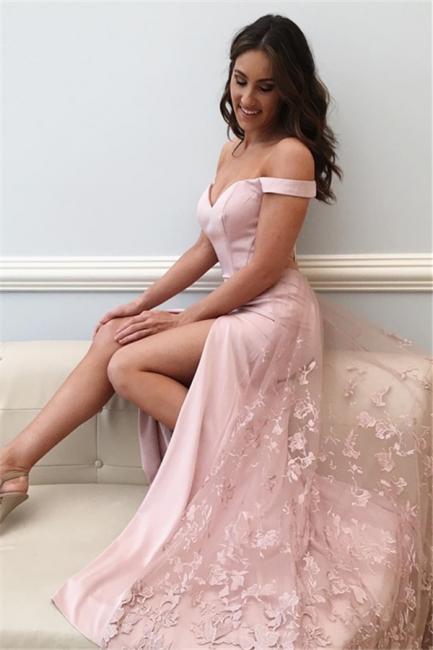Pink Off Shoulder Sheath Prom Dresses | Side Slit Lace Evening Dresses