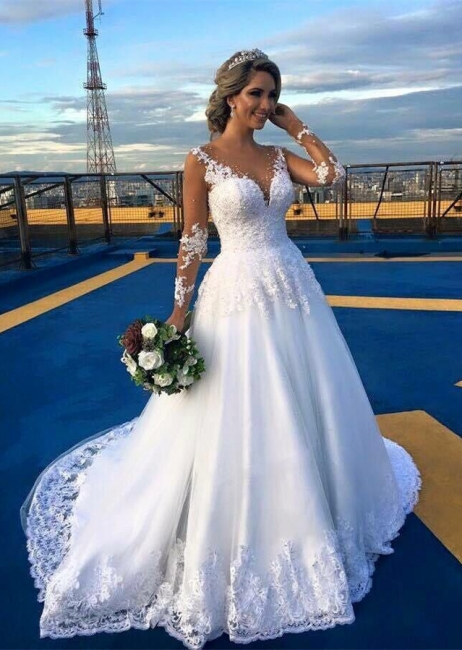 Gorgeous Lace Sweep Train  Bridal Gown Long Sleeve Tulle Wedding Dresses BA6360