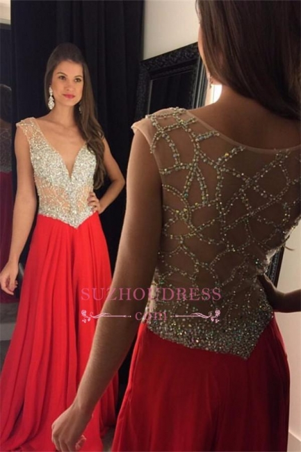 Beading Chiffon Tulle Sequins Sheer New-Arrival Amazing V-neck Prom Dress