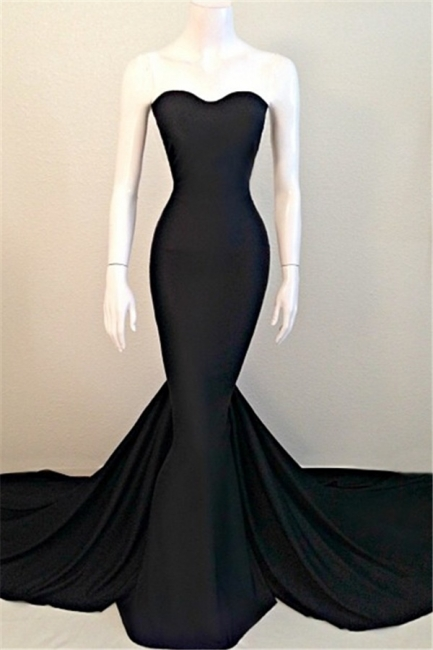 Sweetheart Black Mermaid  Evening Dresses Sexy Simple Court Train Party Dresses TB0024