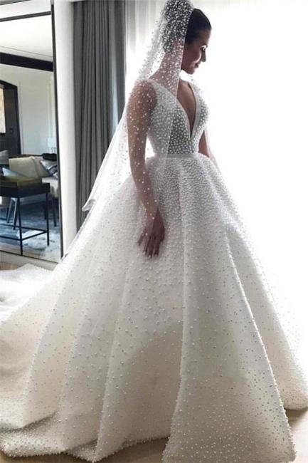 Gorgeous Ball Dresses Wedding Dresses V-Neck Sleeveless Beading Princess Bridal Gowns On Sale