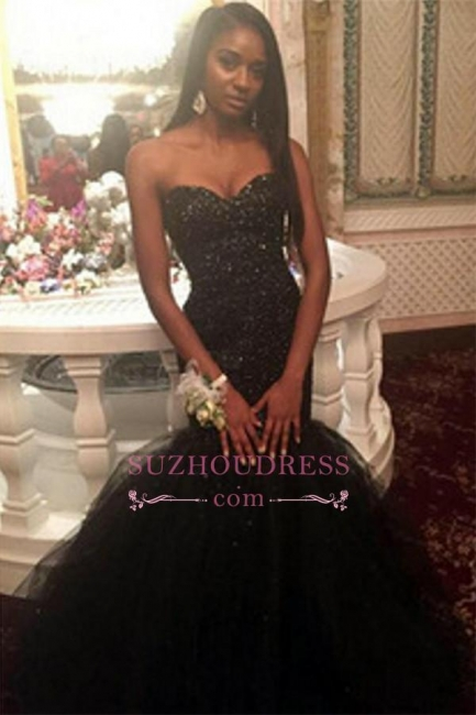 Tulle Sequins Sweetheart Puffy Evening Gown  Amazing Black Beaded Mermaid Prom Dress