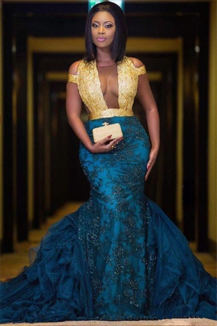 Sheer Tulle Gold Lace Sexy Prom Dress | Blue Lace Appliques Evening Gown with Long Train