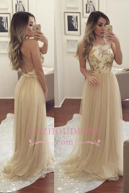 A-line Sleeveless Spaghetti-Strap Chiffon Newest Beads Prom Dress SP0343