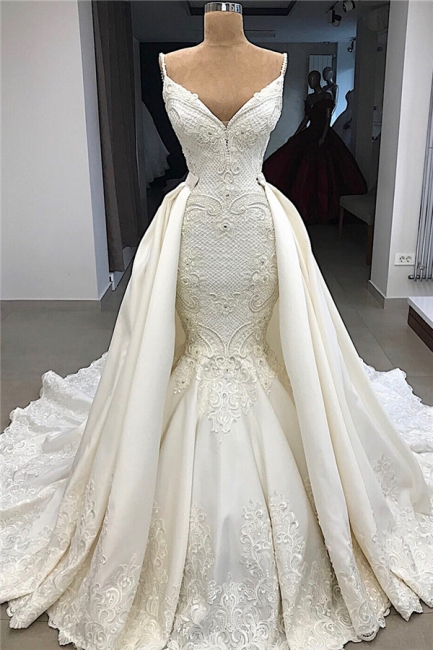 Gorgeous Appliques Detachable Satin Backless Wedding Dresses Spaghetti Straps Lace Fit and Flare Bridal Gowns with Overskirt On Sale