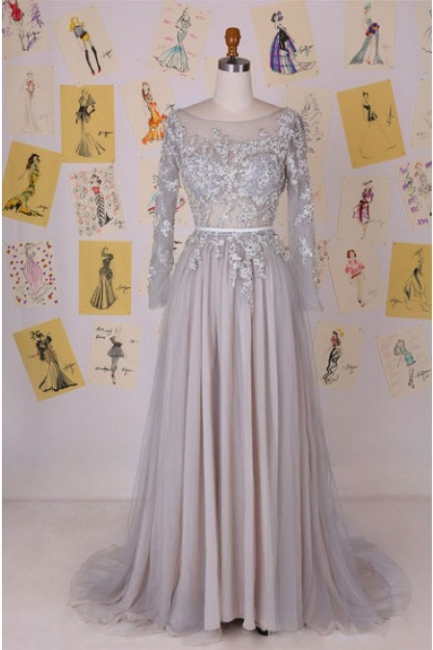 Chiffon Long Sleeve A-Line  Prom Dress Open Back Lace Applique Party Dresses