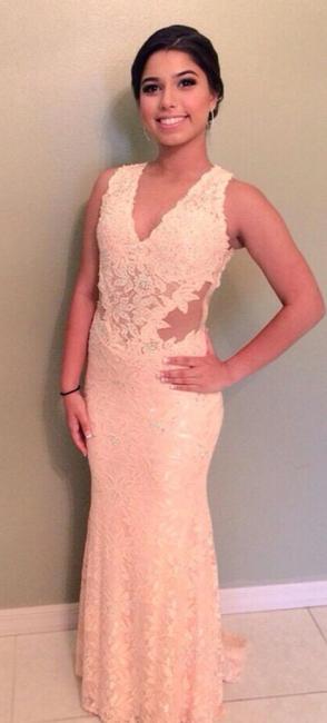 Sheer Back V-Neck Lace Mermaid  Evening Dresses Applique Sexy long Prom Dress