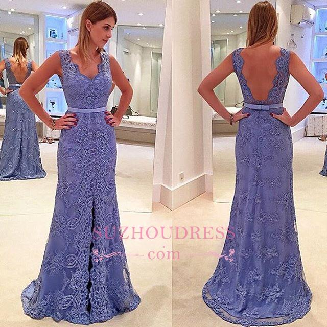 A-line Lace Front Split Straps Delicate Sleeveless Prom Dress