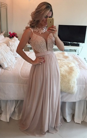 New Arrival Pearl Pink Chiffon Prom Dress A-Line Lace Applique Long Evening Gowns BMT026