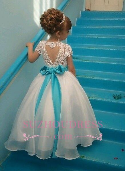 Blue Sash Short Sleeves Crystals Girls Pageant Dress Puffy Tulle Flower Girl Dresses BA3744