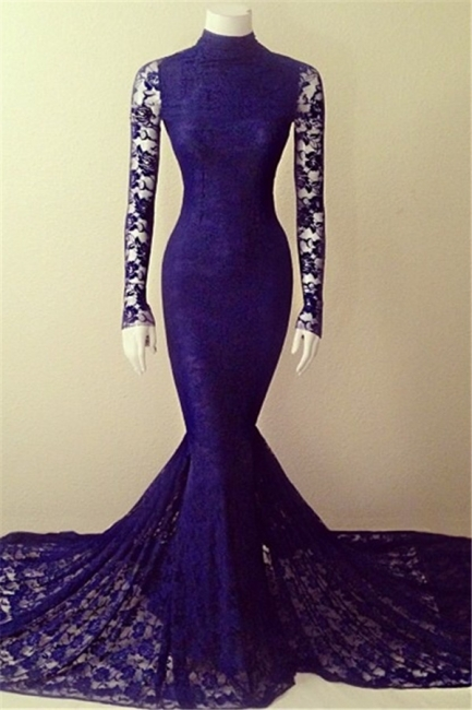 Purple Lace Sexy Party Dresses Long Sleeve High Collar  Evening Gowns