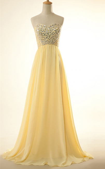 New Arrival Sweetheart Yellow Long Prom Dress Rhinestones Chiffon Lace-Up Plus Size Gowns