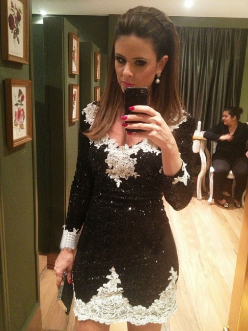 Sexy Black Mini Homecoming Dresses Sheath Long Sleeve Lace Party Gowns