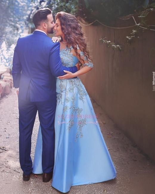 Appliques V-Neck Elegant A-Line Half-Sleeves Prom Dresses