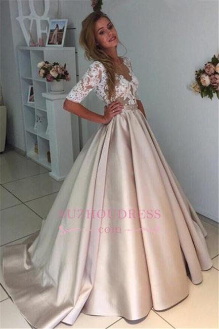 Half Sleeves  Bride Dress A-Line Elegant Illusion Appliques Lace Puff Wedding Dress