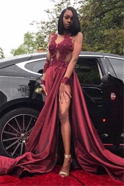 Burgundy A-Line Long Sleeves Prom Dresses  Appliques Side Slit Evening Dresses SK0107