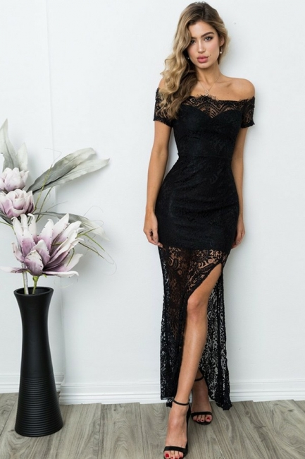Black Off Shoulder Lace Evening Dresses |  Lace Sheath Ankle Length Formal Dress