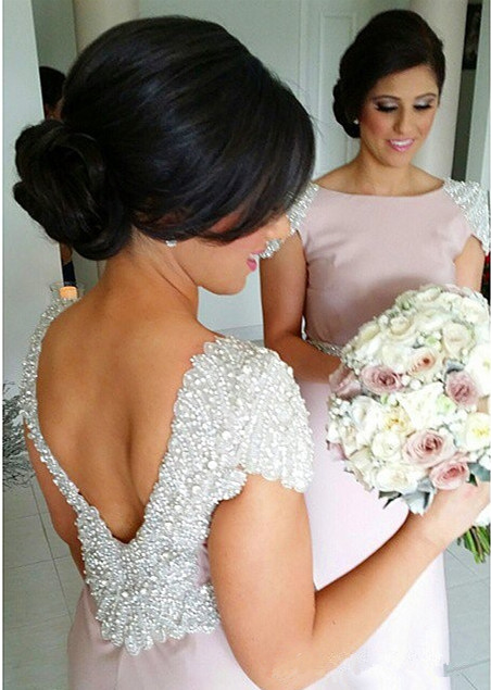 Elegant Crystal Short Sleeve Wedding Party Dresses Backless Sweep Train Fitted Bridesmaid Dresses cap121