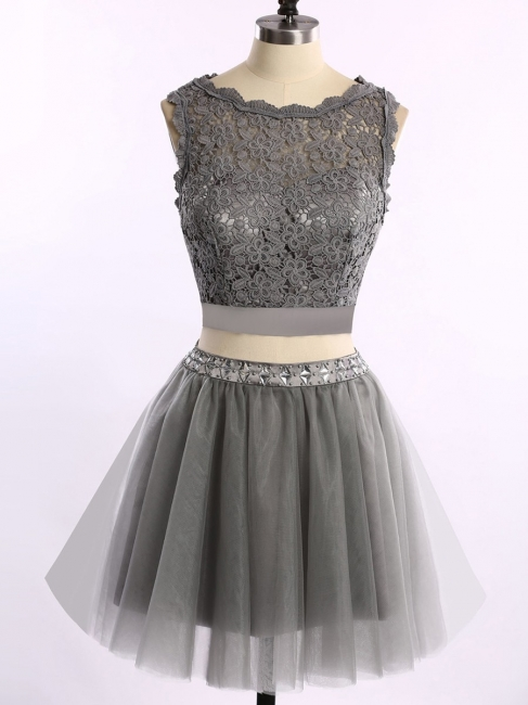 Cute Two Piece Short Cocktail Dresses New Arrival Lace Mini Homecoming Gowns