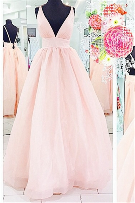 Pink Deep V-Neck Charming  Evening Dresses Floor Length Stunning Prom Dresses