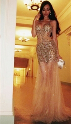 Sexy Crystal Halter Tulle Long Special Occasion Dress Spaghetti Strap Open Back Meraid Evening Dress