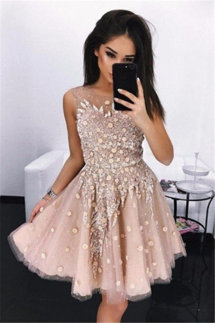 New Arrival Short Sleeveless Homecoming Dresses  | A-Line Flowers Hoco Dresses