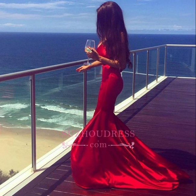 Newest Mermaid Sleeveless V-neck Red Sweep-Train Prom Dress