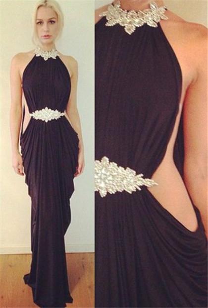 Halter Ruffles Sexy evening Dress  Crystal Beading Popular Party Dress