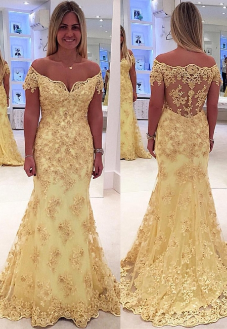 Off The Shoulder Lace Appliques Prom Dresses  Yellow Sheer Back Evening Gown