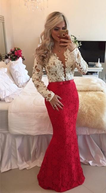 Lace Popular Beadings Floor-Length Long-Sleeves Mermaid Prom Dresses