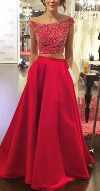 Red Two Piece Off Shoulder Prom Dress Back Hole Bateau A-line Evening Dresses with Pocket
