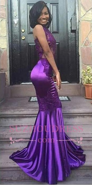 Sexy Halter Mermaid Purple Evening Gown Appliques Lace Open Back Sleeveless Prom Dress  JJ0135