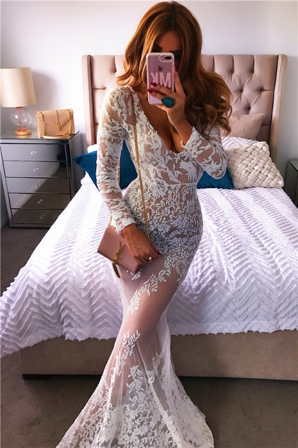 Deep V-neck Sexy Lace Formal Dress  | Long Sleeve See Through Evening Gown
