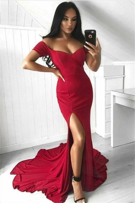 Off The Shoulder Red Evening Dress  | Side Slit Sexy Formal Ball Dress with Long Train