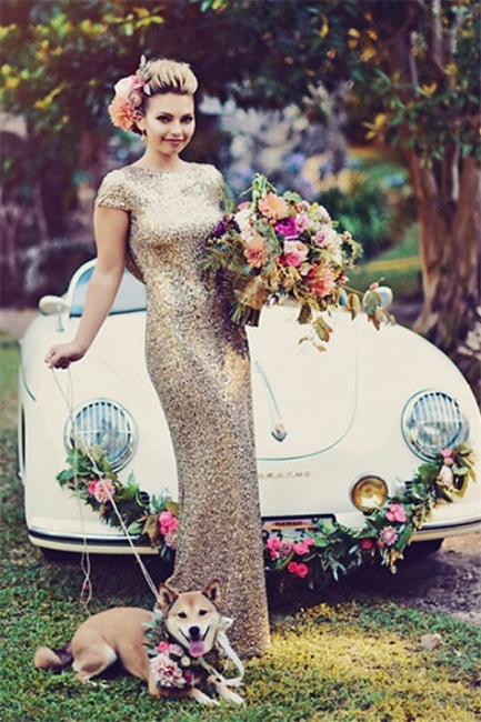 Sparkly Gold Sequins Wedding Party Dresses Floor Length Open Back Bridesmaid Dress