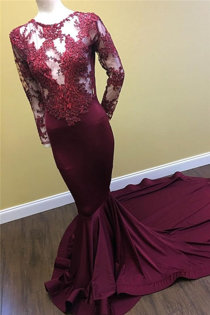 See Through Beaded Lace Appliques Burgundy Prom Dresses  Mermaid Long Sleeve Evening Gown