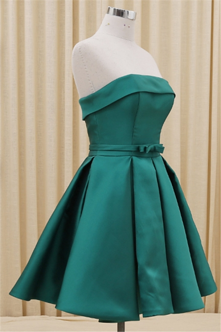 Green Strapless Satin Popular Homecoming Dress Short Formal Party Dress with Bowknot BA3747