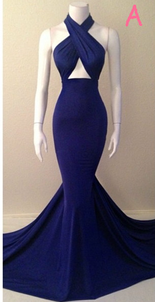 Blue Sexy Mermaid  Evening Dresses Sleeveless Glorious Court Train Gowns TB0026