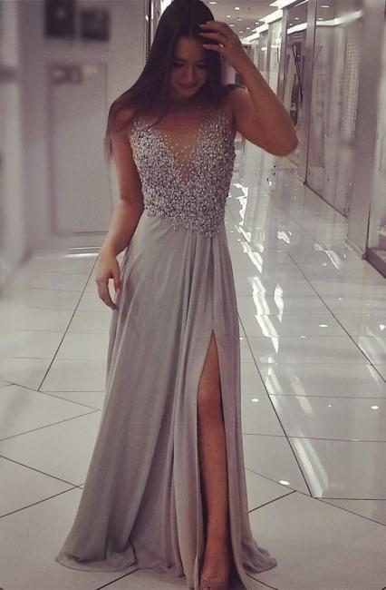 Beadings Split Sexy Evening Gown  Gorgeous Sleeveless Prom Dress BA6383